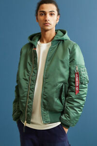 Olive/Green Alpha Industries MA-1 Bomber Jacket  (Hooded) Medium