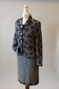 2Pc Black and White Tweed Knit Suit (size 10)