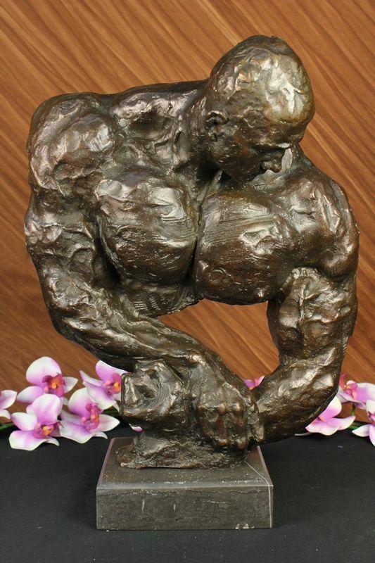 "Vintage / Real Bronze Muscular Bodybuilder Barbell Man Bronze statue 16"" Decor"