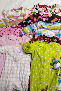 10 - Girls size 18 month sleepers