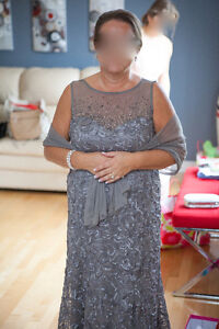 Elegant Mother of the Bride Dress - Pewter - Size 14P