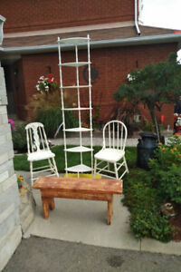 VINTAGE TALLER SHELF + 2 Antique Chairs +BENCH *SEE EACH  PRICE