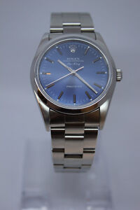 Rolex 34 MM Air King Oyster Steel Blue Dial Watch 14000