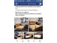 Solid pine double bed frame only £85ono
