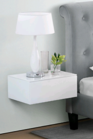 Floating white glass bedside draw table console floating shelf mirror