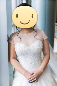 David's Bridal Beaded Net Cap Sleeve Topper (Ivory)