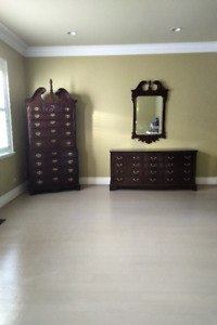 bed,2 dressers, mirror, 2 night tables