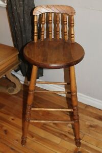 vintage stool with spindle back