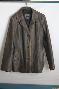 AMERICAN EAGLE GENUINE LEATHER DISTRESSED BELTED  AVIATOR JACKET