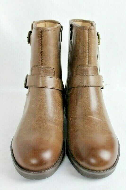 Vionic Leather Ankle Boots Java Brown Size 8 Prize Malia Zip