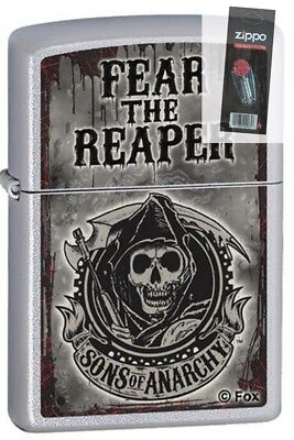 Zippo 28502 Sons Of Anarchy Fear The Reaper Chrome Lighter   Flint Pack