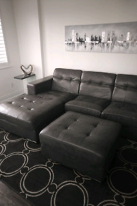 Bonded Grey Leather Sectional Sofa with Ottoman