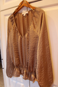 Reduced! MICHAEL KORS Ladies Gold Long Sleeve Blouse NEW! Size L