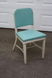 RETRO VINTAGE Metal Desk/Side Chair in Tiffany Blue and Grey!