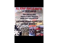 ALL SCRAP VEHICLES WANTED