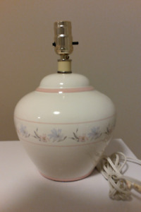 Two Small White Lamps with Decorative Design -  with Lampshades