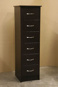 New Espresso Brown Skinny 6 Drawer Dresser Chest
