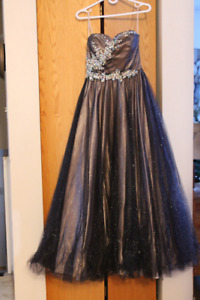 Black/taupe prom/grad/bridal/special occasion floor-length dress