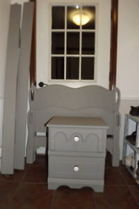 Solid wood single bed  and matching bedside table