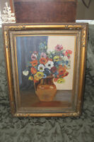 Old Antique Poppy Painting - Signed C.W.