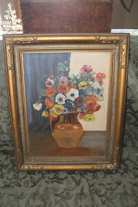 Old Antique Poppy Painting - Signed C.W. London Ontario image 1