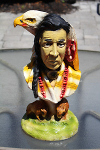 VINTAGE CHALKWARE INDIAN CHIEF EAGLE & BUFFALO BUST STATUE
