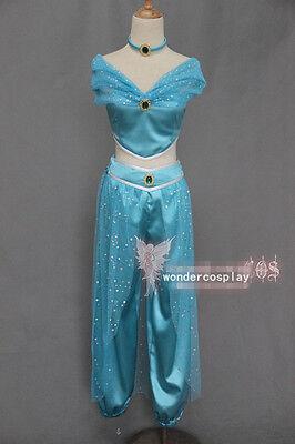 Princess Jasmine Costume For Adults (Aladdin Jasmine Princess Halloween Cosplay Costume for Adult Custom Made)