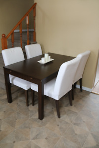 Ikea Expandable table and 4 covered chairs