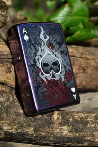 Zippo Lighter - Ace of Death - Purple Abyss - Skull -  Ace of Spades - # 852205