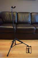 Guitar stand with guitar maintenance neck cradle
