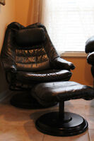Black Genuine Leather Reclining Chair & Foot Stool