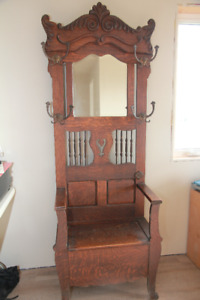 Antique Tiger Oak Hall Tree early 1900's