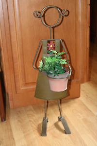 Metal Figurine with removable flower pot
