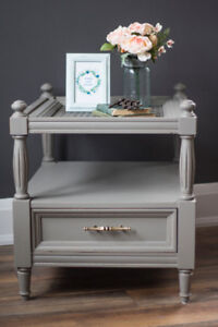 Refinished Grey Vintage End Table with Storage