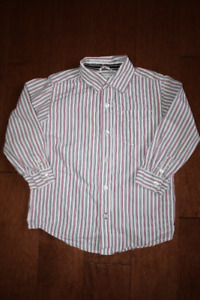 Long Sleeve Button Up Pin Striped Shirt - 4T
