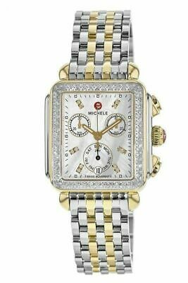 New Michele Deco Signature Two Tone Diamond Ladies Watch  MWW06P000108 Signature Deco Diamond