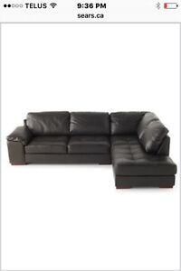New Sectional - Black Leather