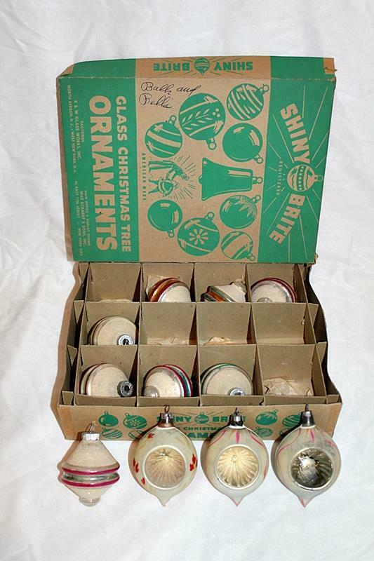 Vintage 8 Shiny Brite Christmas Ornaments Spinning Top Frosted Mica & 3 Teardrop