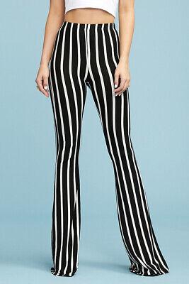 Women's Black White Stripe Bell Bottom Flare Leg Long Stretch Pants High Waist  - Black Disco Pants