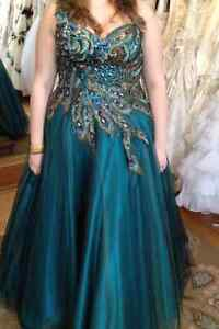 Prom Dress w/ feather design (SIZE 18-20)  - $400 or best offer