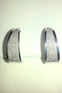 Hoop Fashion Earrings 925 Sterling Silver Plated Crystal Finish