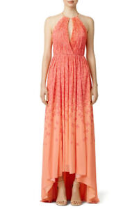 NEW Badgley Mischka Coral Falling Butterfly Maxi DRESS SIZE 2