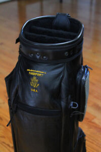 Awesome Black Leather Passport USA Golf Cart Bag