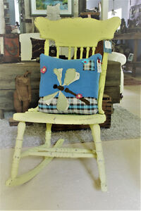ANTIQUE ROCKING CHAIR, REFINISHED, HAND PAINTED