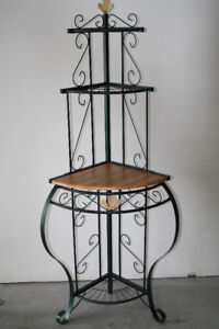 Wrought Iron and Oak Corner Stand