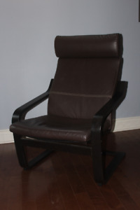 IKEA Poang Leather Arm Chair