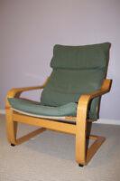 2 IKEA POANG chair Armchairs , birch veneer, green or blue