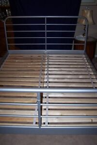 Ikea Queen Size Grey Metal Bed Frame with Wooden Slats