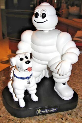 "MICHELIN MAN & DOG 7"" BOBBLEHEAD DOLL PROMOTIONAL ITEM MICHELIN TIRE MAN L@@K"