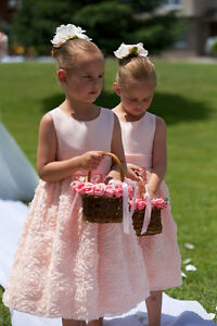 Like New two FLOWER GIRL DRESSES Size 6X Light Peach / Pink Cambridge Kitchener Area image 10